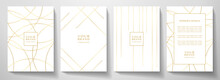 Modern White Cover Design Set. Luxury Dynamic Gold Circle, Line Pattern. Creative Premium Stripe Vector Background For Business Catalog, Brochure Template, Notebook, Invite