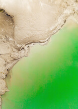 Aerial View Of A Green Pool Used For Slag Disposal In Artemovsky Industrial Area, Primorsky Krai, Russia.