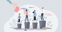 Developing Talent And Professional Training For Personal Growth Tiny Person Concept. Potential Improvement And Motivation Boost With Leader Appraisal Or Encourage As Skill Watering Vector Illustration