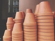 Upside Down Flower Pots Outside Shop