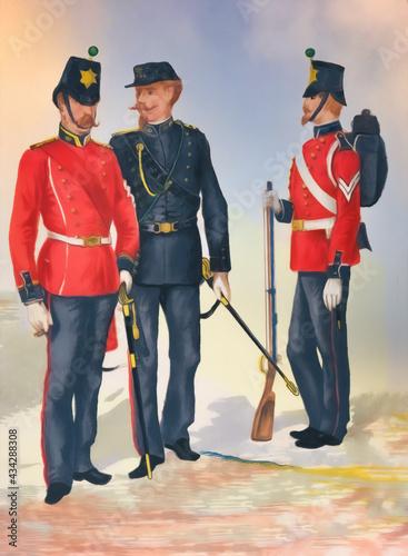 Obraz na płótnie British infantry soldiers in 1850s. Illustration.