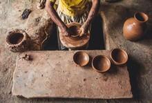 A Man Making Pot With Clay In Sargodha Pakistan.