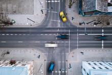 Aerial View Of Fast Blurry Cars Traffic Moving Across Crossroad In Kaunas City, Lithuania.