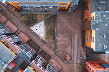 Aerial Top Down View Of Inside Yard Between Apartment Buildings In Kaunas, Lithuania.