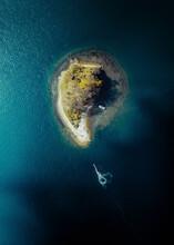 Aerial View Of Ostrov Papenberga, A Small Island In Bukhta Novik Waters, Vladivostok, Russia.