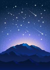 Illustration Mountains Night Stars