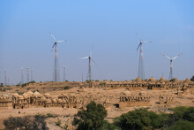 Famous Cenotaph Of Bada Bagh In Front Of Wind Farm Against Clear Sky