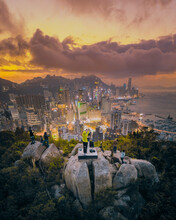 Hong Kong - 14 February 2019: Aerial View Of People Shooting Photographs To The City Skyline At Sunset, Hong Kong.