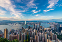 Victoria Harbour View From The Peak At Evening, Hong Kong