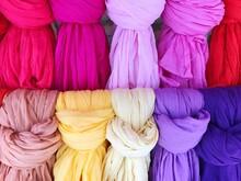 Full Frame Shot Of Colorful Scarfs For Sale At Market
