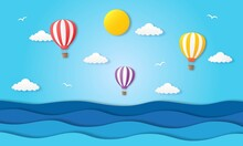 Hello Summer With Beach Landscape Background Paper Art Style_5