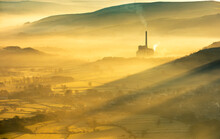 Hope Valley Cement Works Bathed In The Early Morning Sun And Mist