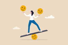 Emotional Intelligence, Balance Emotion Control Feeling Between Work Stressed Or Sadness And Happy Lifestyle Concept, Mindful Calm Woman Using Her Hand To Balance Smile And Sad Face.