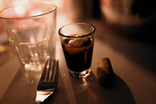 Close-up Of Booze Glass On Table