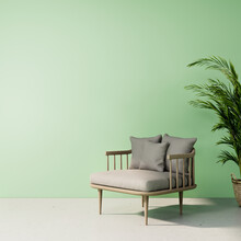 Modern Green Room Interior Design Summer Concepts, The Room Has A Chair And A Tree 3D Render Background