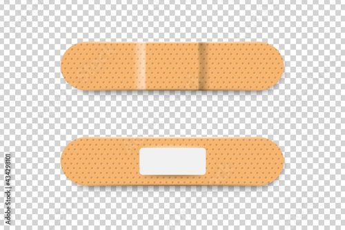 Vászonkép Vector realistic isolated bandage plasters on the transparent background