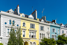 Colourful English Victorian Houses In Notting Hill, In Kensington And Chelsea
