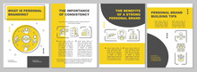 What Is Personal Branding Brochure Template. Corporate Identity. Flyer, Booklet, Leaflet Print, Cover Design With Linear Icons. Vector Layouts For Presentation, Annual Reports, Advertisement Pages