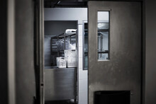 Go To Kitchen Room On Hotel With Iron Gate To Making Food Menu To Serve Restaurant