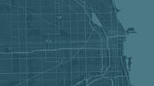 Blue Cyan Chicago City Area Vector Background Map, Streets And Water Cartography Illustration.