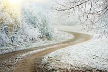 Scenic View Of Road During Winter