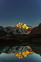 The Reflections Of Aadi Kailash Peak On Parwati Lake, Uttarakhand India