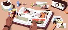 Female Hands Creating Photo Album, Attaching And Arranging Photographs And Memory Notes. Creation Of Book With Pictures. Colored Flat Vector Illustration Of Photoalbum Or Scrapbook With Images