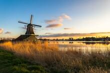 Zaanse Schans Tradional Dutch Windmills At Sunset, Netherlands