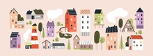 Set Of Isolated Cute Tiny Houses, Small Buildings And Trees In Scandinavian Style. Trendy Urban And Village Homes With Windows, Roof Tiles And Chimneys With Smoke. Colored Flat Vector Illustration