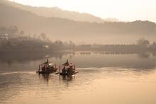 Ban Ruk Thai Mae Hong Son  Thailand. View Of Chinese Yunnan Lakeside Village And Chinese Style Boat