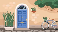 Front Wooden Door With Knocker And Mail Slot. Home Exterior With Arch Doorway And Stone Wall With Plants And Flowers In Pots. Dwelling House Facade With Retro Bicycle. Colored Flat Vector Illustration