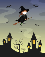 Witch In Protective Mask Flying On Broomstick Over Town. Cartoon. Vector Illustration.