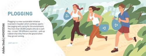 Fotografie, Obraz Web banner about plogging with people jogging and picking garbage into trash bags