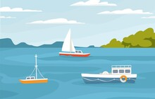 Peaceful Marine Landscape With Sailboats, Ships Floating In Sea. Passenger Sail Boats, Yachts In Ocean. Colored Flat Vector Illustration Of Serene Nature With Sky Horizon With Clouds