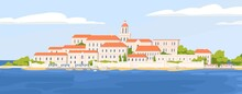 Summer Landscape Of Beautiful Coastal Town With Castle. Panoramic View Of European City At Sea Coast. Seaside Townscape With Landmark. Colored Flat Vector Illustration Of Empty Touristic Location