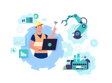 Working People With Clever Device For Workflow Of Industry 4.0