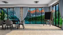 Stylish Office Room With Mountain Lake Sunrise View In Windows, Photorealistic 3D Illustration Of The Interior, Suitable For Using In Video Conference And As A Zoom Background.