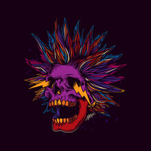 Abstract Vector Illustration. A Crazy Skull With A Crazy Hairstyle With Sparks From The Eyes. T-shirt Design, Stickers, Print.