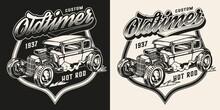 American Custom Car Vintage Monochrome Badge