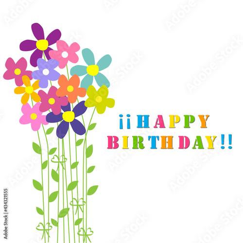 Canvastavla Felicitación de cumpleaños con ramo de flores de colores.