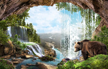 Bear At The Waterfall In The Forest