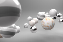 Abstract Background With Floating Spheres In Silver, White And Grey. Partly With Golden Dots.