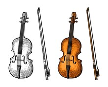 Violin With Bow. Vector Vintage Color And Monochrome Engraving