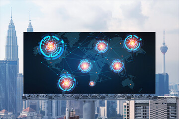 World planet Earth map hologram on billboard over panorama city view of Kuala Lumpur, Malaysia, Asia. The concept of international connections and business.