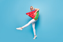 Full Size Profile Side Photo Of Young Girl Happy Positive Smile Hold Big Watermelon Slice Fruit Isolated Over Blue Color Background