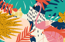 Tropical Flowers And Leaves Poster Background With Flamingos. Colorful Summer Vector Illustration Design. Exotic Tropical Art Print For Travel And Holiday, Fabric And Fashion