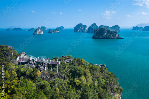 Fototapeta Aerial view of Hong Island and view point 360 degree from top of the hill