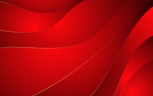 Abstract Wavy Red With Luxury Gold Lines Background