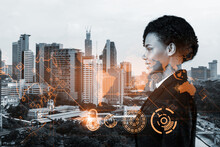 Attractive Black Businesswoman Is Thinking About New Concepts At Cybersecurity Compliance Division To Protect Clients Confidential Information. IT Lock Icons Over Kuala Lumpur Background.
