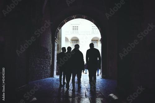 Rear View Of Silhouette Men Walking In Archway Fototapet